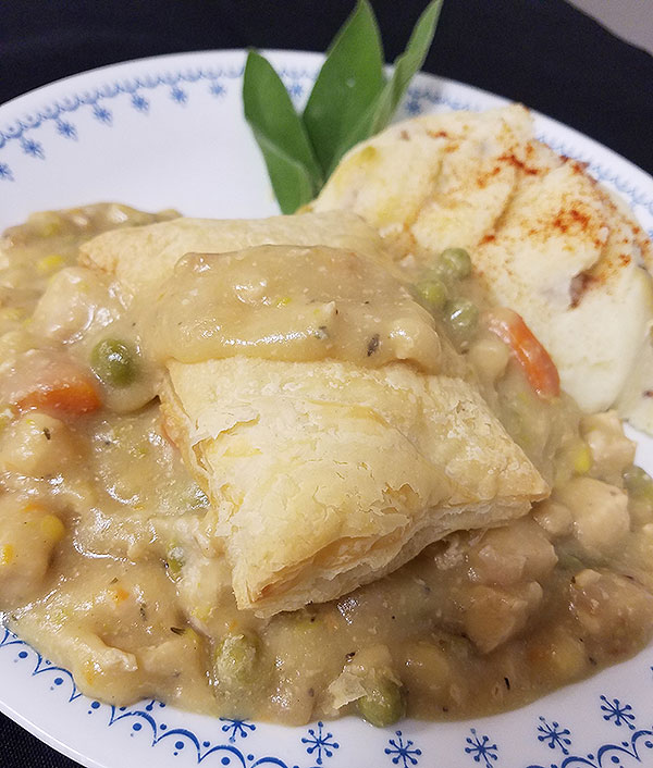 Photo of a corporate food service chicken pot pie made from scratch.