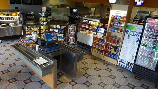 Photo of corporate food service self-checkout mini market.
