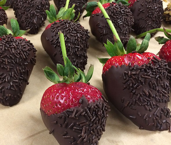 Chocolate-dipped strawberries for Maryland food service account.