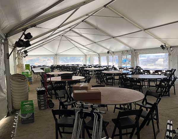 Photo of large tent used for Boston catering event.