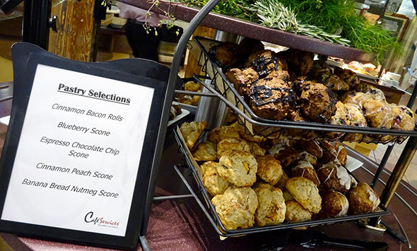 Photo of our made-fresh scones for corporate diners on the go.