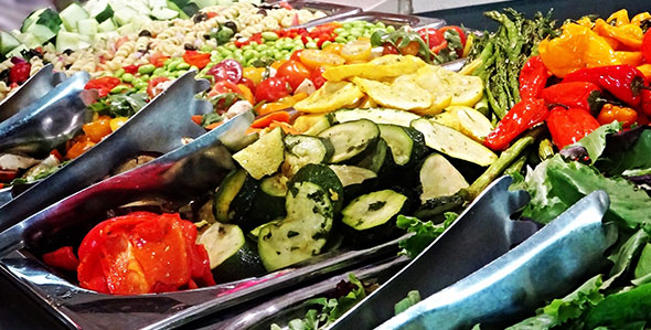Fresh vegetables at corporate dining salad bar.